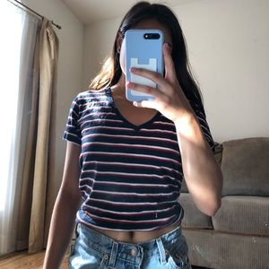 Levis red, white, and blue striped v neck tee